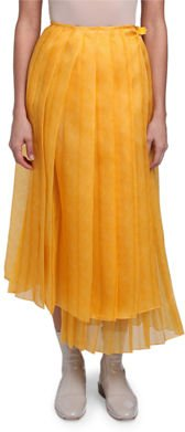Pleated Silk Feather Organza Maxi Skirt