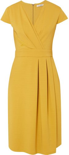 Wrap-effect Stretch-jersey Dress - Yellow