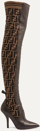 Rockoko Logo-jacquard Stretch-knit And Leather Over-the-knee Boots - Brown