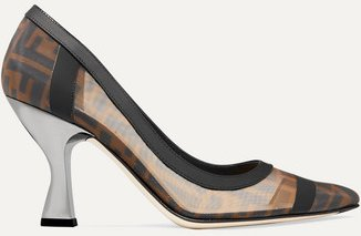 Colibrì Logo-print Mesh And Leather Pumps - Brown