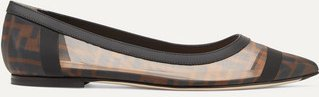 Colibri Leather-trimmed Logo-print Mesh Point-toe Flats - Brown