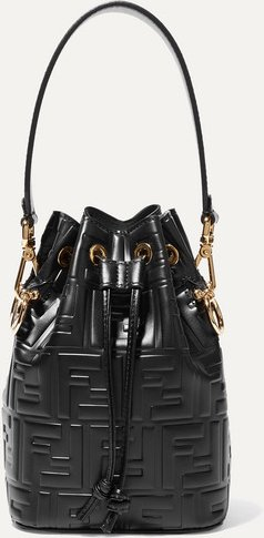Mon Trésor Small Embossed Leather Bucket Bag - Black