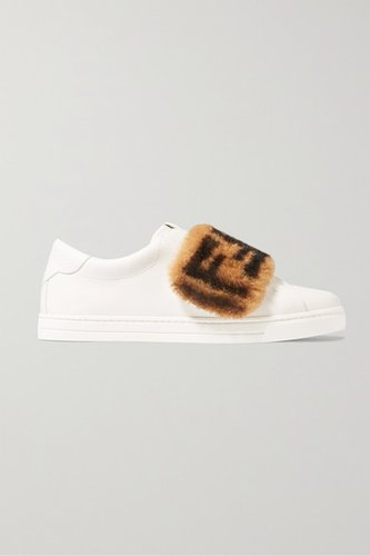 Shearling-trimmed Leather Sneakers - White