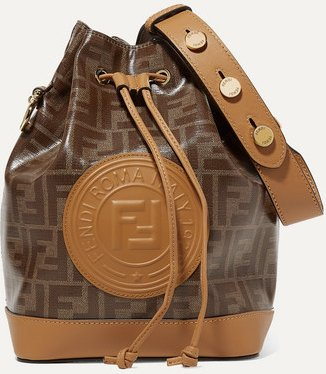 Mon Trésor Large Printed Coated-canvas And Leather Bucket Bag - Tan