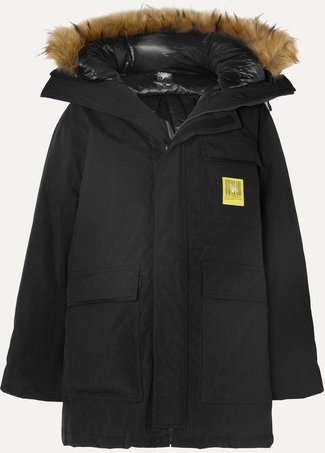 Hooded Faux Fur-trimmed Shell Down Parka - Black