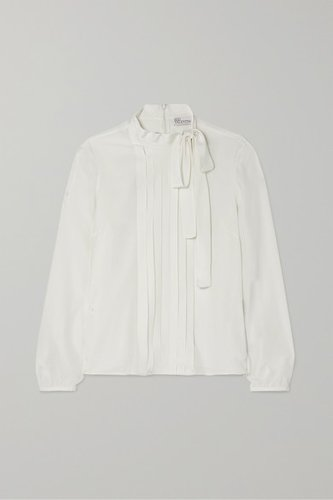 Pussy-bow Pintucked Silk Crepe De Chine Blouse - White
