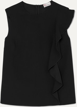Ruffle-trimmed Crepe Blouse - Black