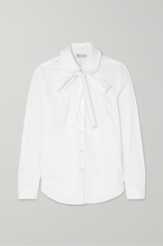 Pussy-bow Stretch Cotton-blend Poplin Shirt - White