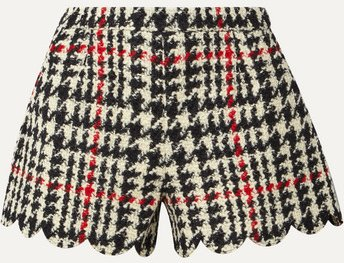 Scalloped Houndstooth Wool-blend Bouclé Shorts - Black