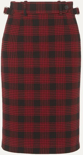 Buckled Checked Tweed Skirt