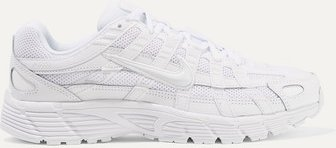 P-6000 Leather And Mesh Sneakers - White