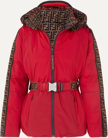 Reversible Belted Printed Shell Down Jacket - Red