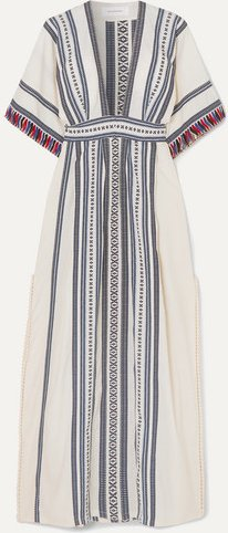 Picot-trimmed Embroidered Cotton Maxi Dress - Navy