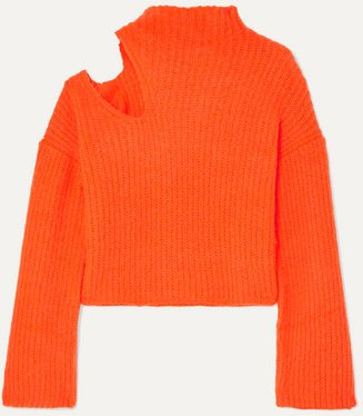Forero Neon Cutout Ribbed-knit Turtleneck Sweater - Bright orange