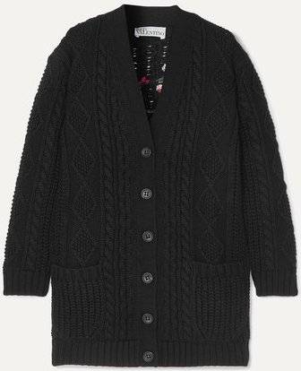 Embroidered Cable-knit Wool Cardigan - Black