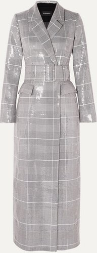 Sequined Checked Double-breasted Tweed Coat - Gray