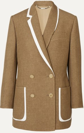 Double-breasted Bow-detailed Leather-trimmed Wool And Silk-blend Blazer - Beige