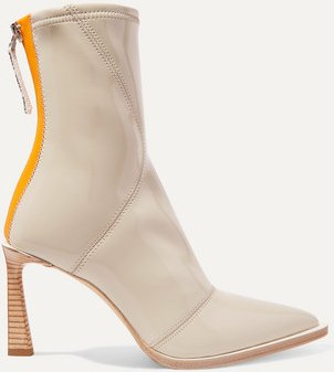 Two-tone Glossed-neoprene Ankle Boots - Beige