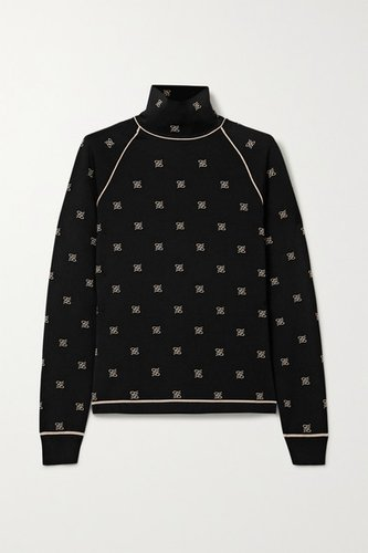 Embroidered Stretch-jersey Turtleneck Top - Black