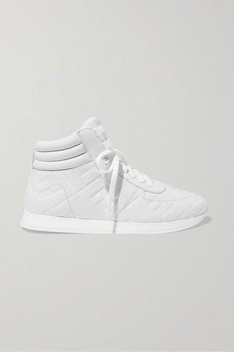 Logo-embossed Leather High-top Sneakers - White
