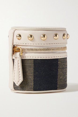 Studded Leather And Canvas Pouch - Beige