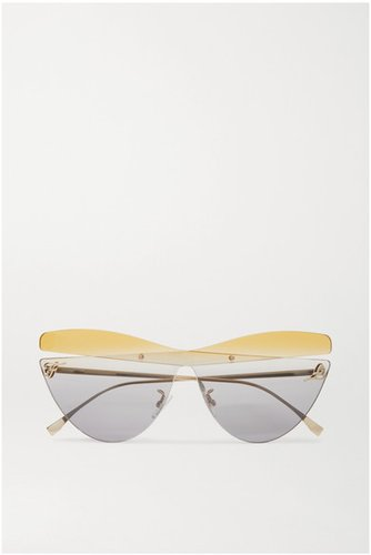 Cat-eye Gold-tone Sunglasses