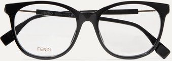 Round-frame Acetate And Gold-tone Optical Glasses - Black