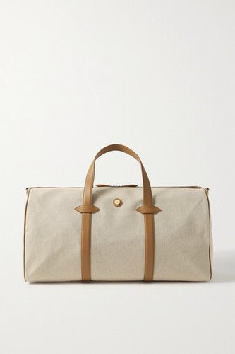 Main Line Duffel Leather-trimmed Canvas Weekend Bag - Cream