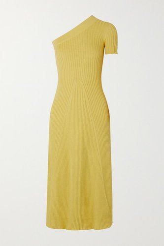 Felix One-sleeve Ribbed Cotton Dress - Yellow