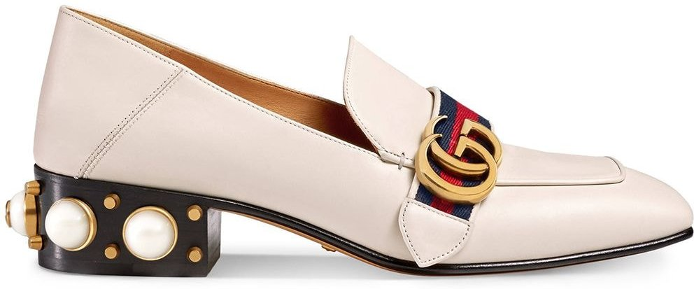 Leather mid-heel loafer - NEUTRALS