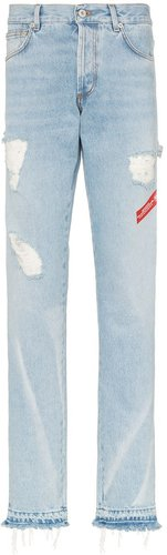 distressed logo tape jeans - Blue