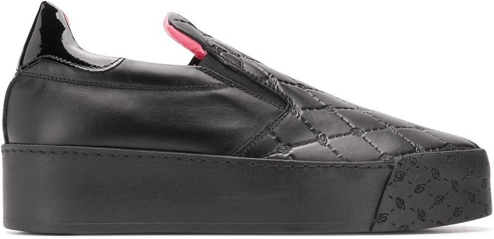 quilted effect sneakers - Black