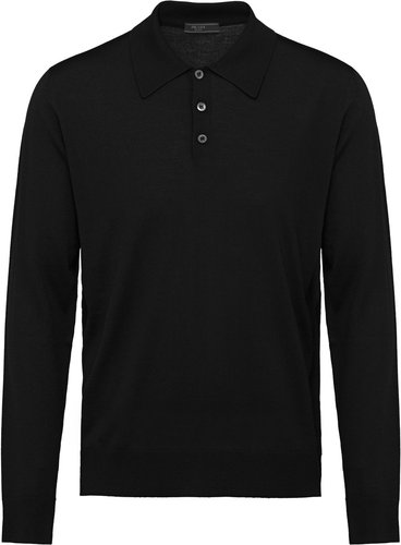 Worsted wool polo shirt - Black
