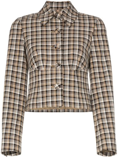 Haring checked cropped jacket - Neutrals