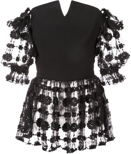 embroidered floral blouse - Black