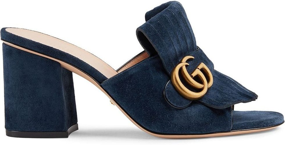 Suede mid-heel slide with Double G - Blue