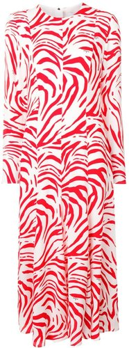 zebra print long dress - White