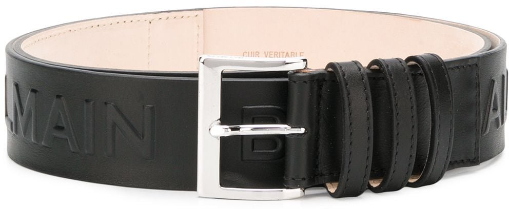 logo embossed belt - Black