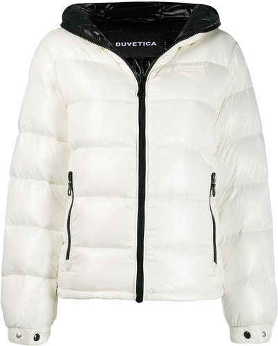 hooded padded jacket - White