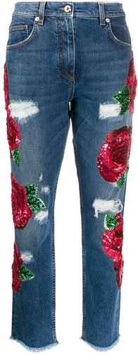 ricamo rose embroidered jeans - Blue
