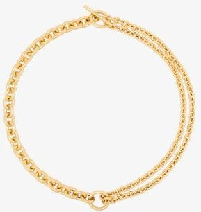 18K Gold-plated double mix chain necklace