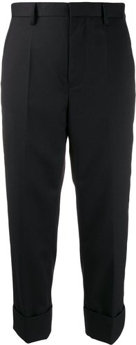 tailored cropped trousers - Black