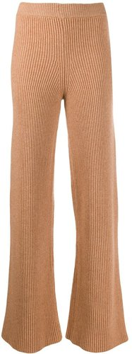 ribbed flared Cortina trousers - NEUTRALS