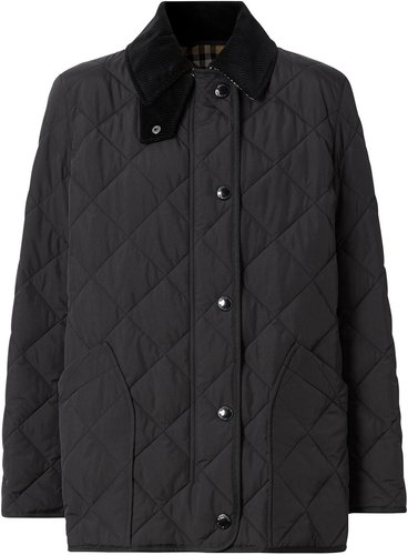 diamond quilted thermoregulated barn jacket - Black