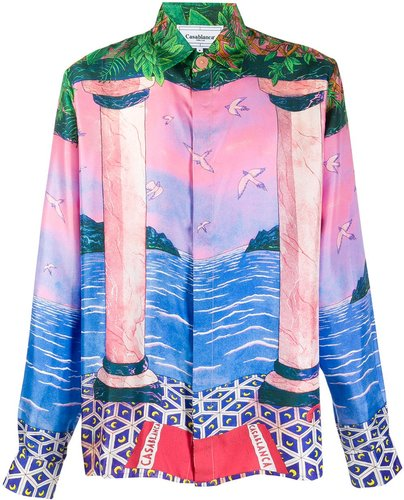 mixed-print silk shirt - Pink