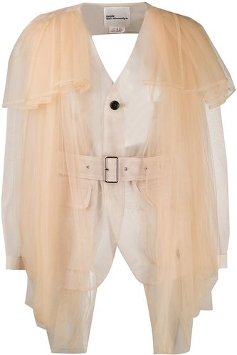 sheer buckled back jacket - Neutrals
