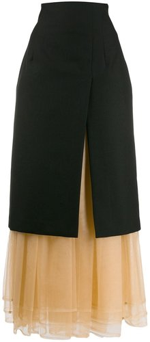 layered midi skirt - Black