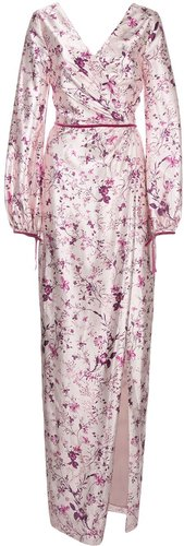 draped floral long dress - PINK