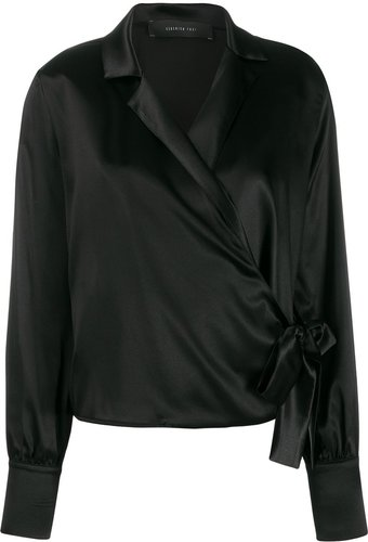 satin wrap blouse - Black