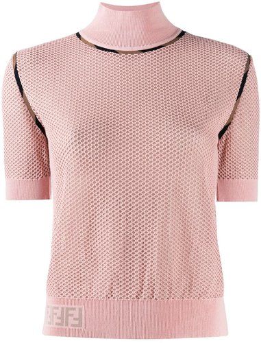 turtle neck slim-fit jumper - PINK